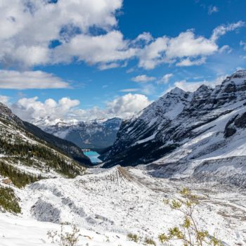View from the top of Plain of Six Glaciers