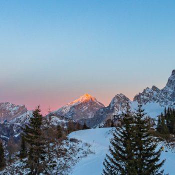 Enrosadira on Pelmo, Antelao and Marmarole, Dolomites, Italy